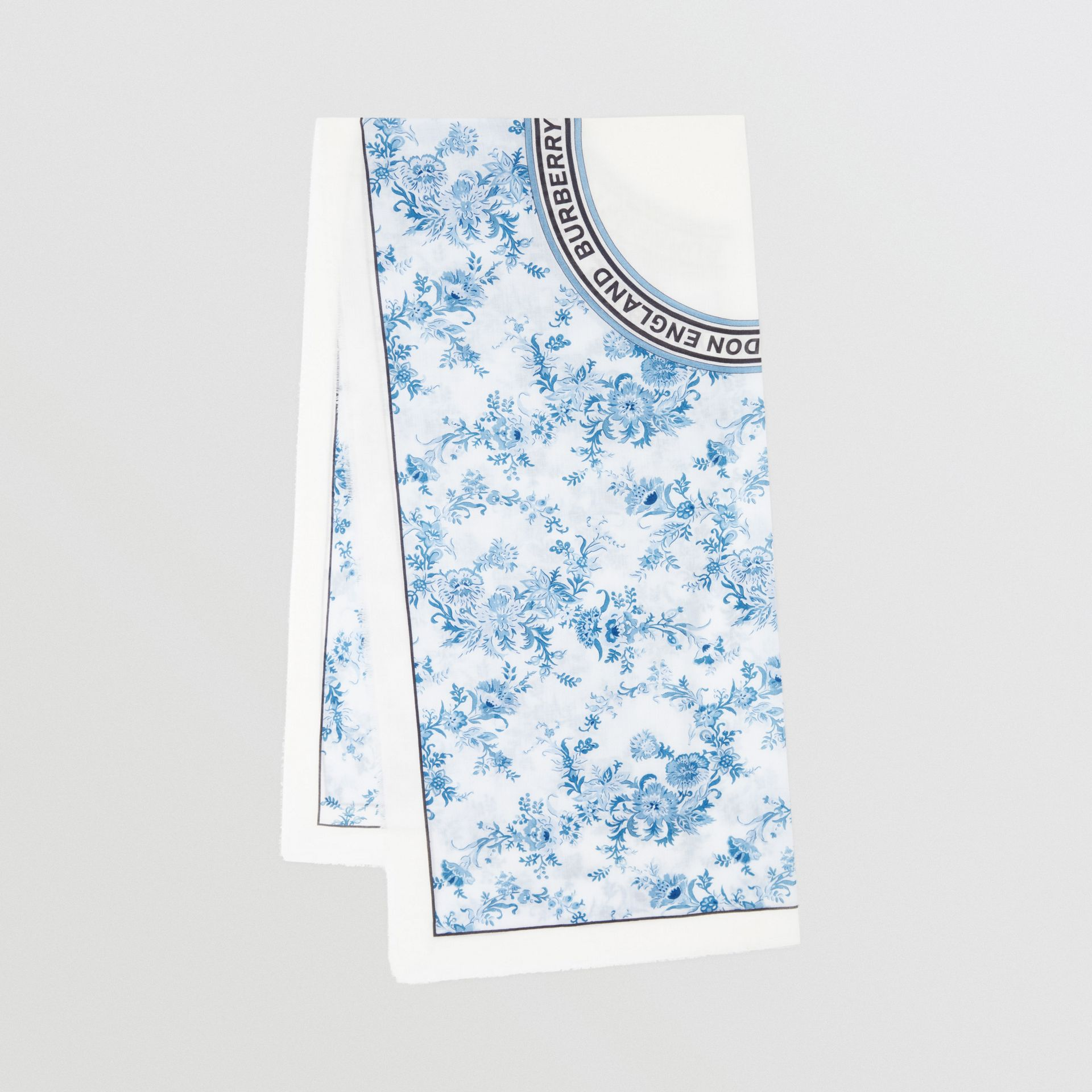 Floral Print Lightweight Cashmere Scarf in Pale Blue | Burberry United Kingdom - gallery image 0