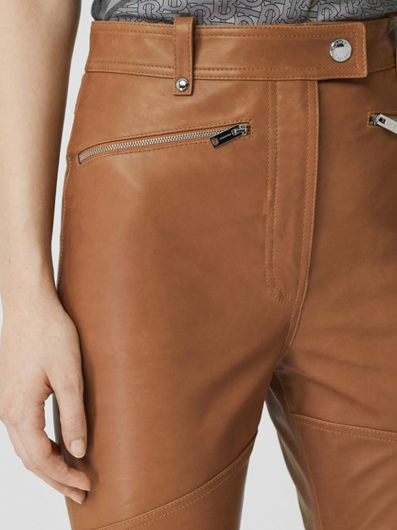 Biker Leather Trousers in Brown - Women | Burberry United Kingdom - cell image 1