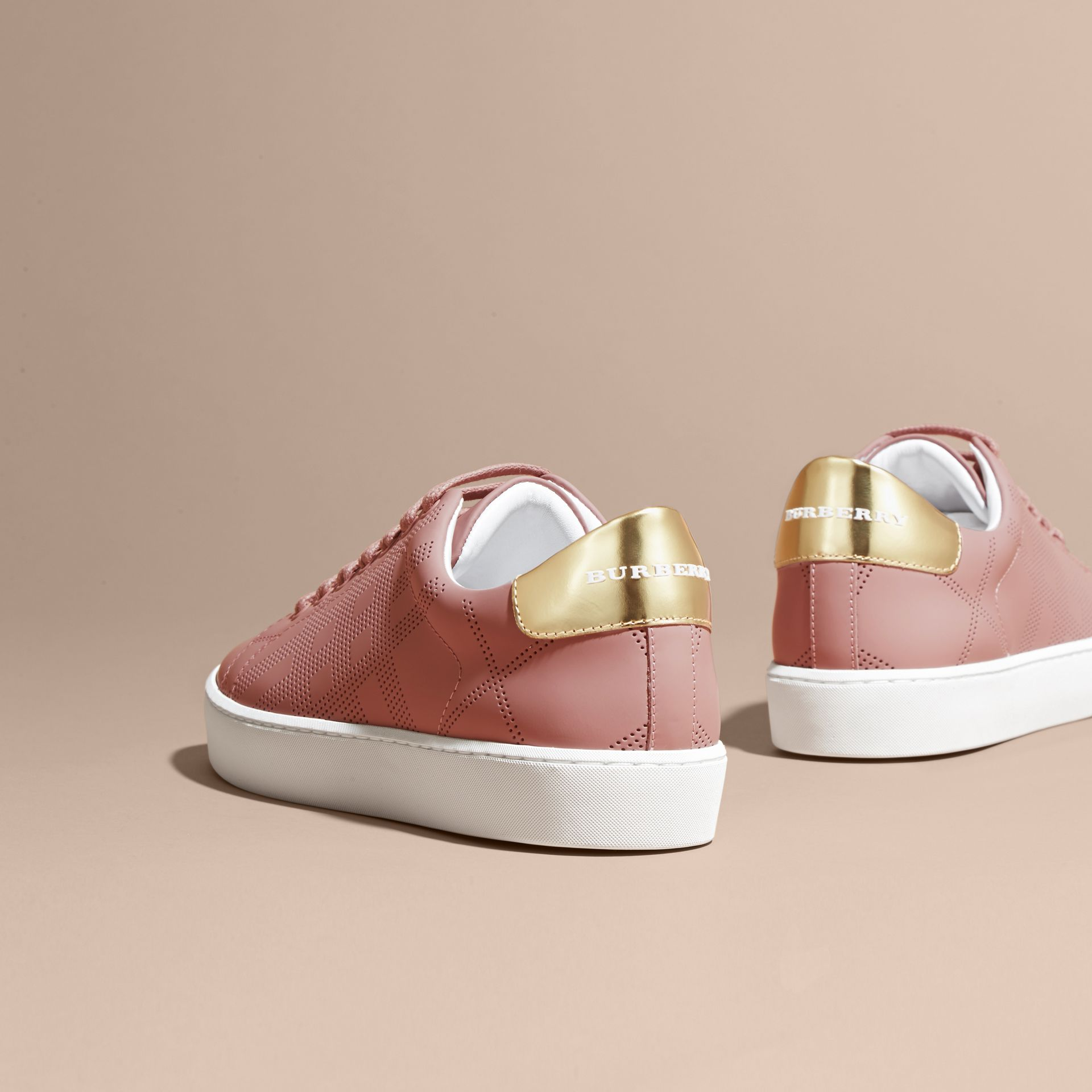 Perforated Check Leather Trainers Rose Pink - gallery image 4