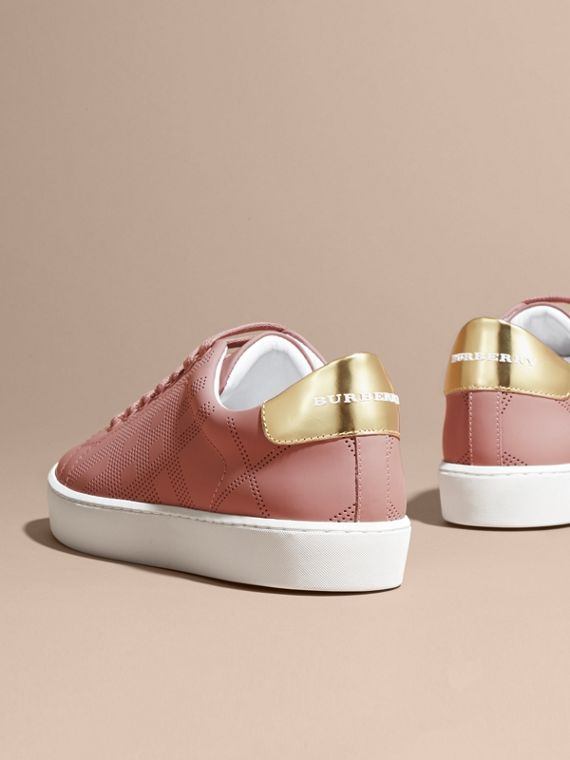 Rose pink Perforated Check Leather Trainers Rose Pink - cell image 3