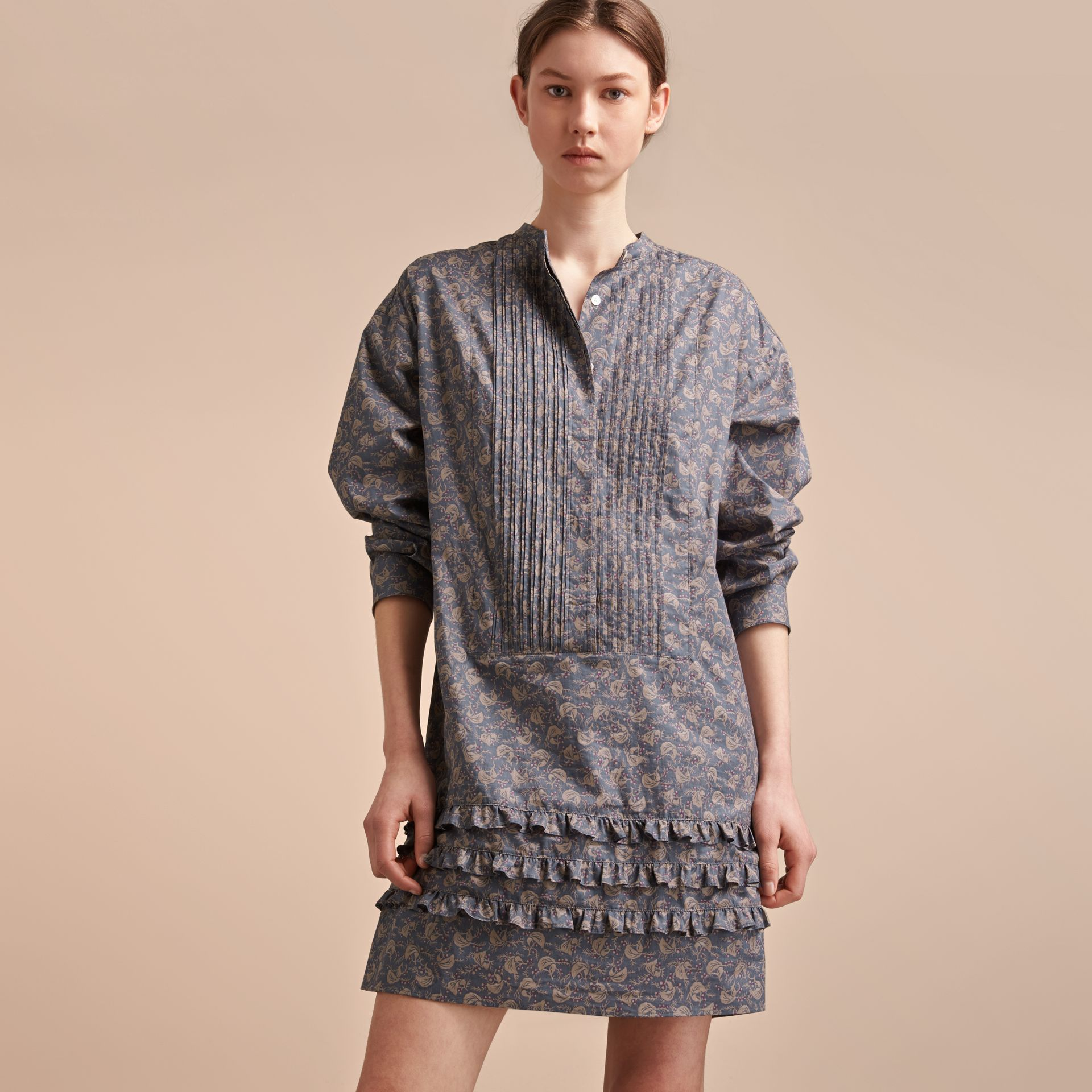 Pintuck Bib Leaf Print Cotton Shirt Dress - gallery image 6