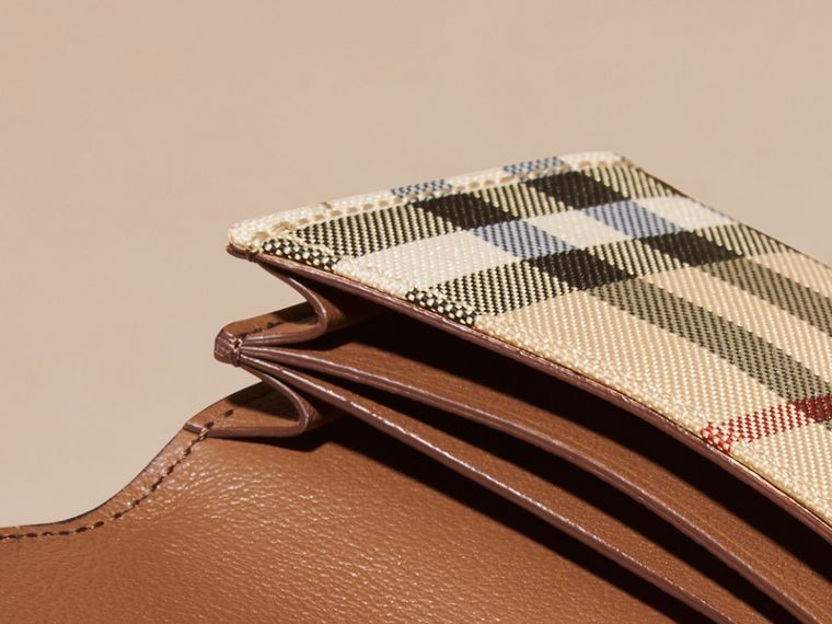 Horseferry Check and Leather Card Case in Tan - cell image 4