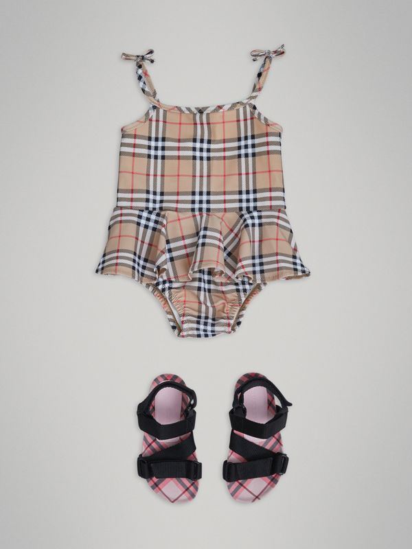 Ruffle Detail Vintage Check One-piece Swimsuit in Camel - Children | Burberry - cell image 2