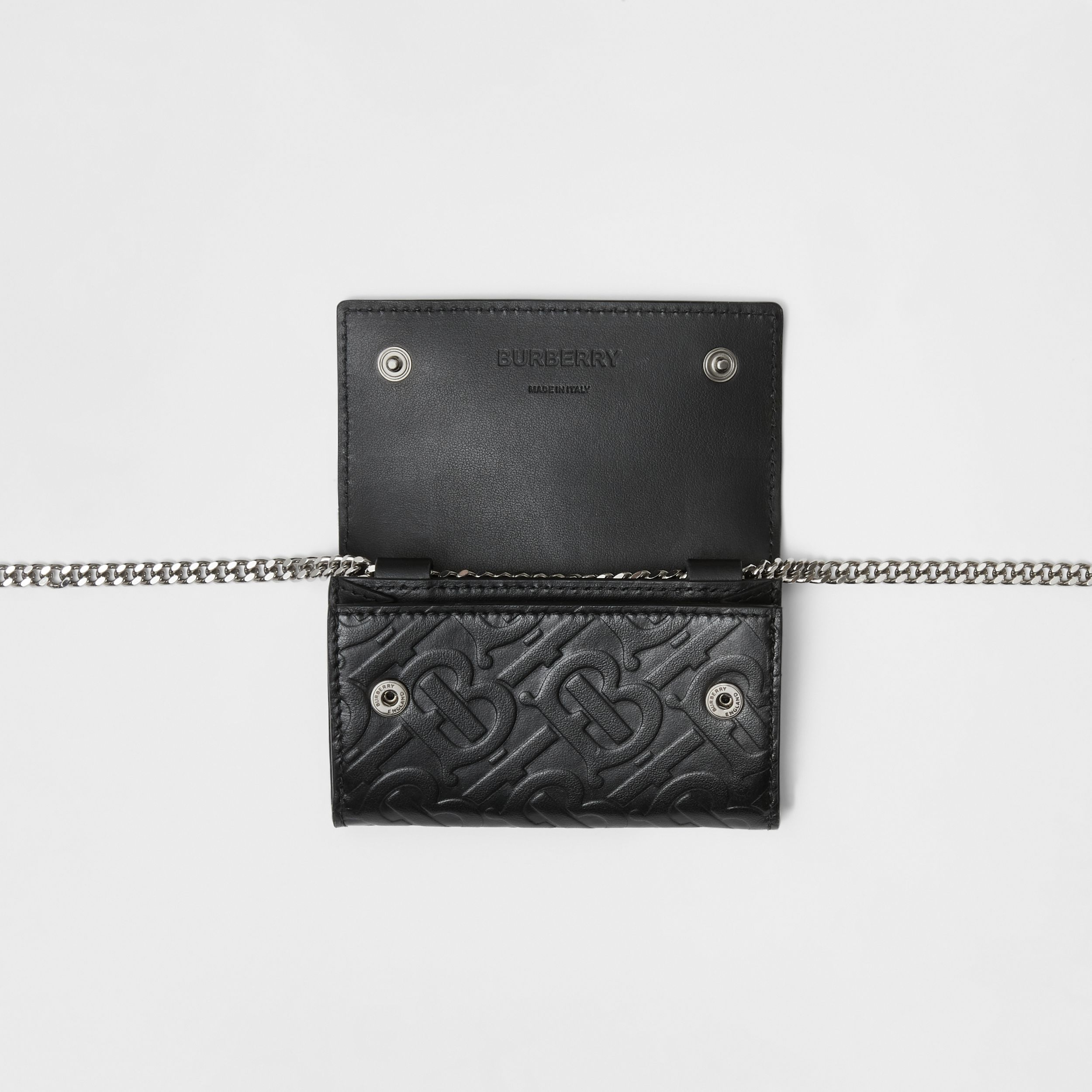 Small Monogram Leather Wallet with Detachable Strap in Black | Burberry - 4