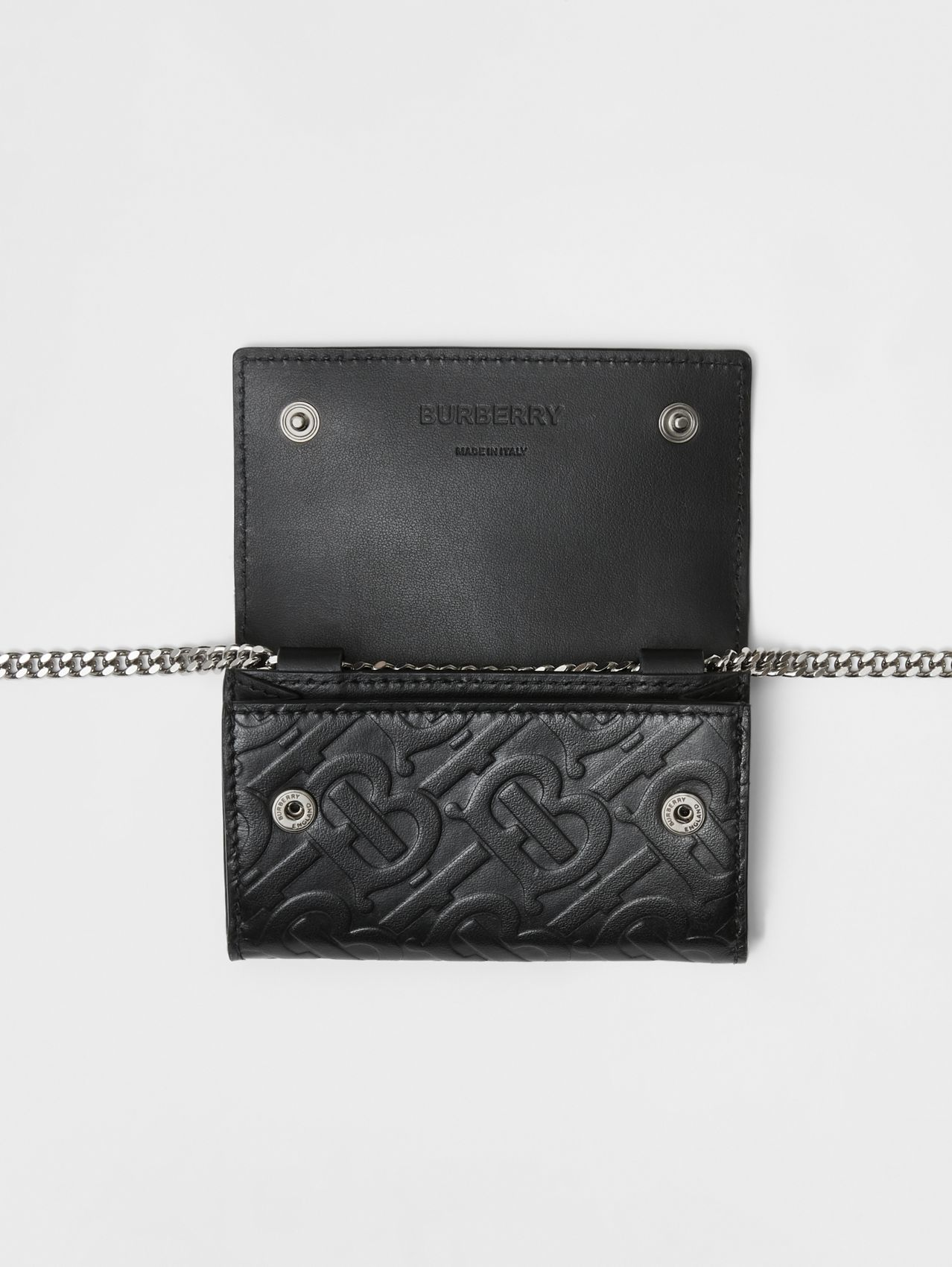 Small Monogram Leather Wallet with Detachable Strap in Black