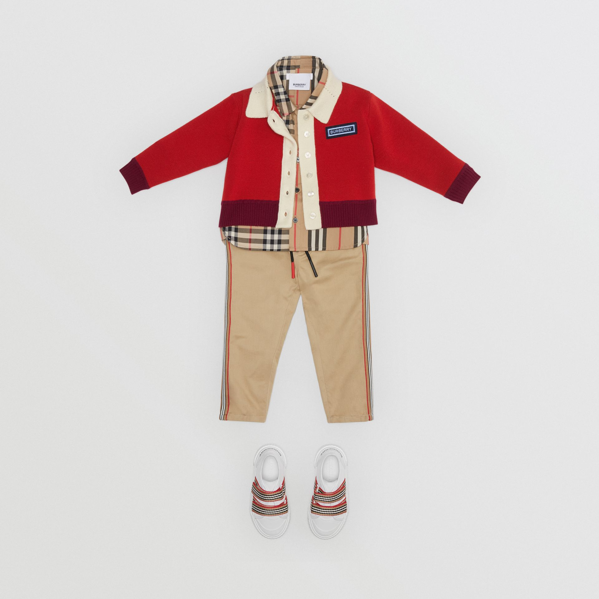 Logo Detail Merino Wool Blend Cardigan in Bright Red - Children | Burberry - gallery image 2