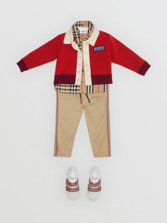 Cardigan en laine mérinos mélangée avec logo (Rouge Vif)