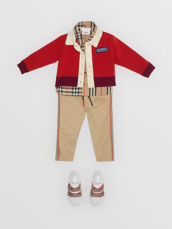 Logo Detail Merino Wool Blend Cardigan in Bright Red - Children | Burberry Australia - cell image 2