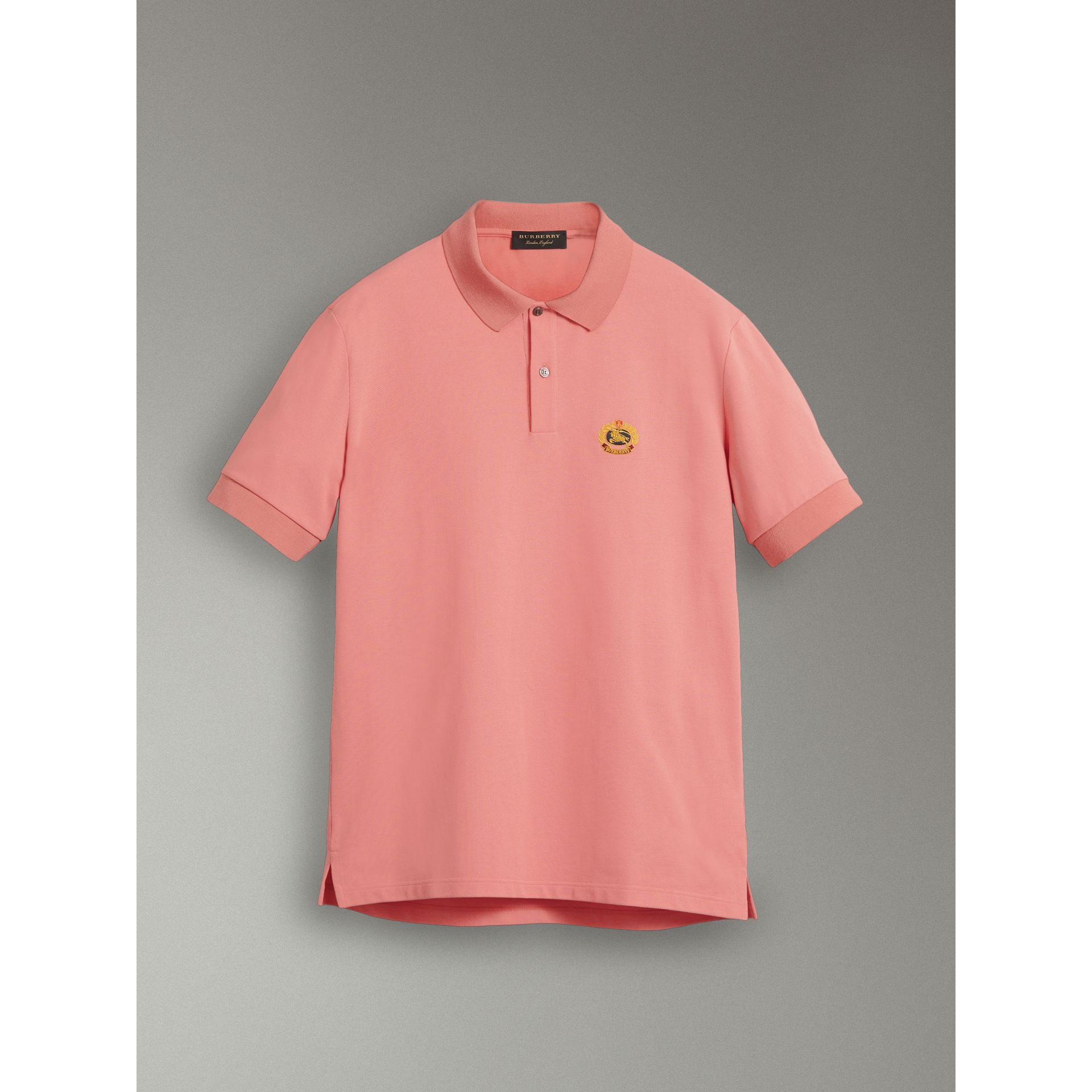 Reissued Cotton Polo Shirt in Coral - Men | Burberry United Kingdom - gallery image 3
