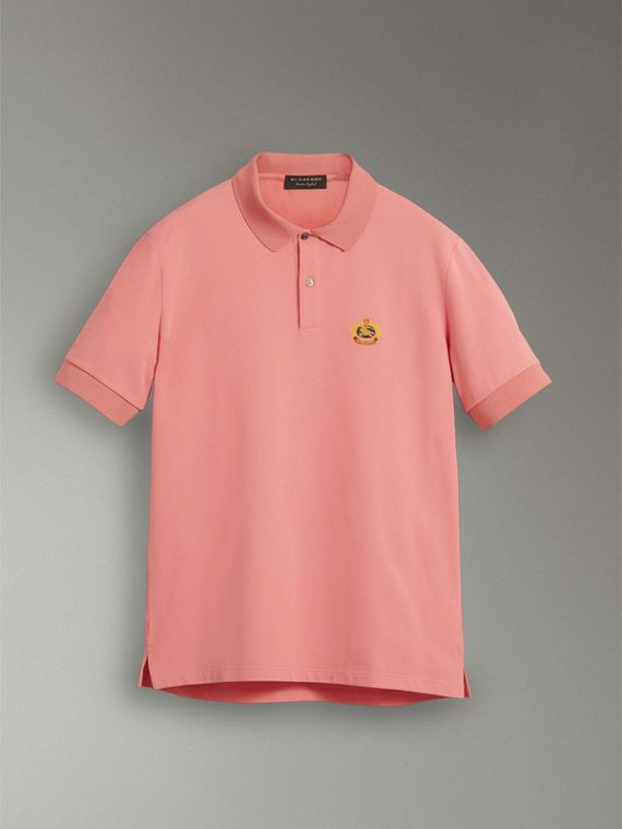 Reissued Cotton Polo Shirt in Coral - Men | Burberry Hong Kong - cell image 3