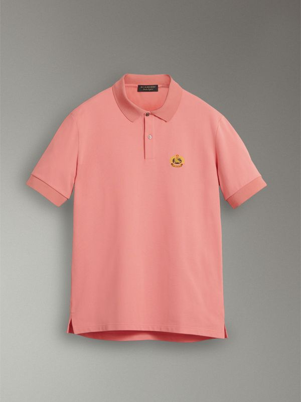 Reissued Cotton Polo Shirt in Coral - Men | Burberry United Kingdom - cell image 3