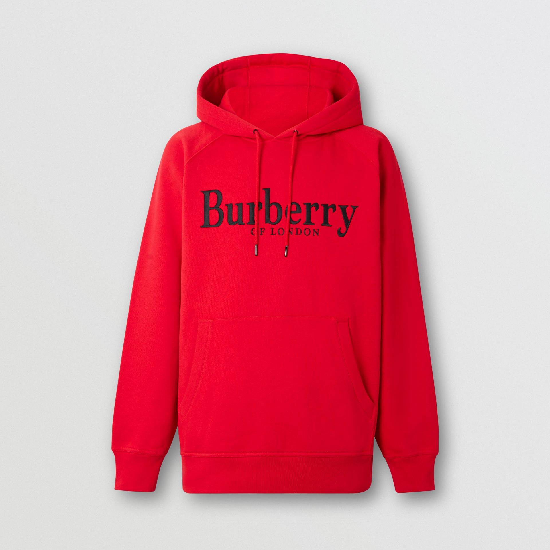 Embroidered Logo Jersey Hoodie in Bright Red - Men | Burberry United Kingdom - gallery image 3