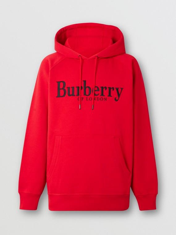 Felpa con cappuccio in jersey con logo ricamato (Rosso Acceso)