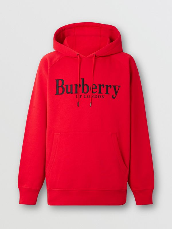 Embroidered Logo Jersey Hoodie in Bright Red - Men | Burberry - cell image 3