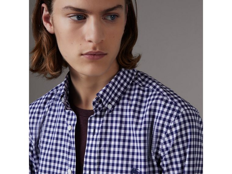 Button-down Collar Gingham Cotton Shirt in Navy - Men | Burberry - cell image 1