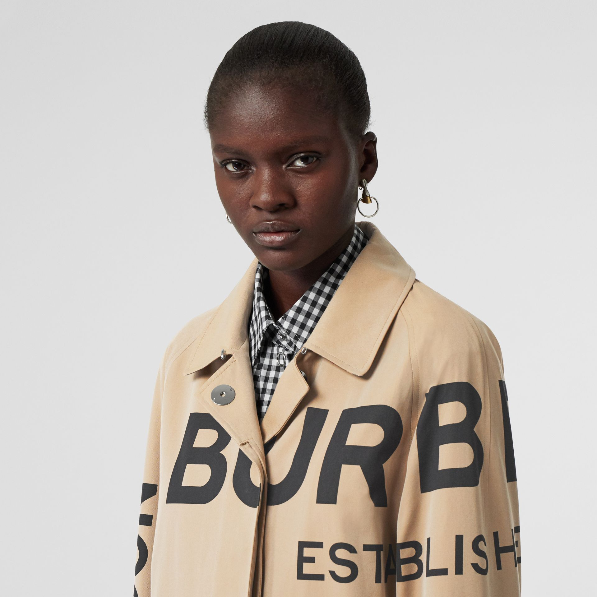 Horseferry Print Cotton Gabardine Car Coat in Honey - Women | Burberry Singapore - gallery image 7