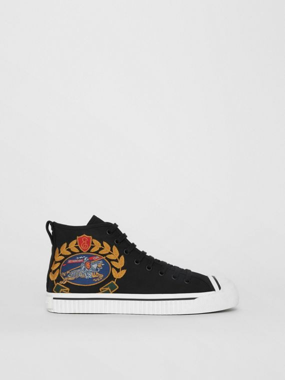 Archive Logo Cotton Gabardine High-top Sneakers in Black