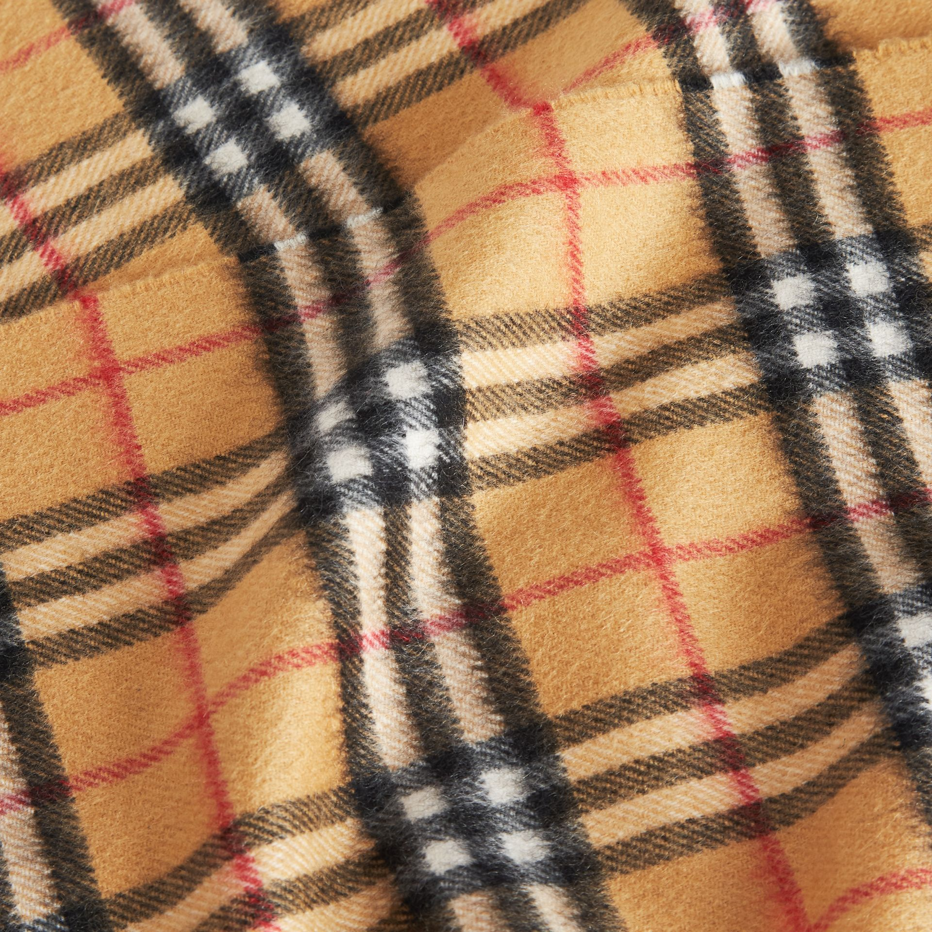 The Mini Classic Vintage Check Cashmere Scarf in Antique Yellow - Children | Burberry - gallery image 1
