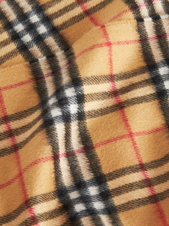 The Mini Classic Vintage Check Cashmere Scarf in Antique Yellow - Children | Burberry - cell image 1