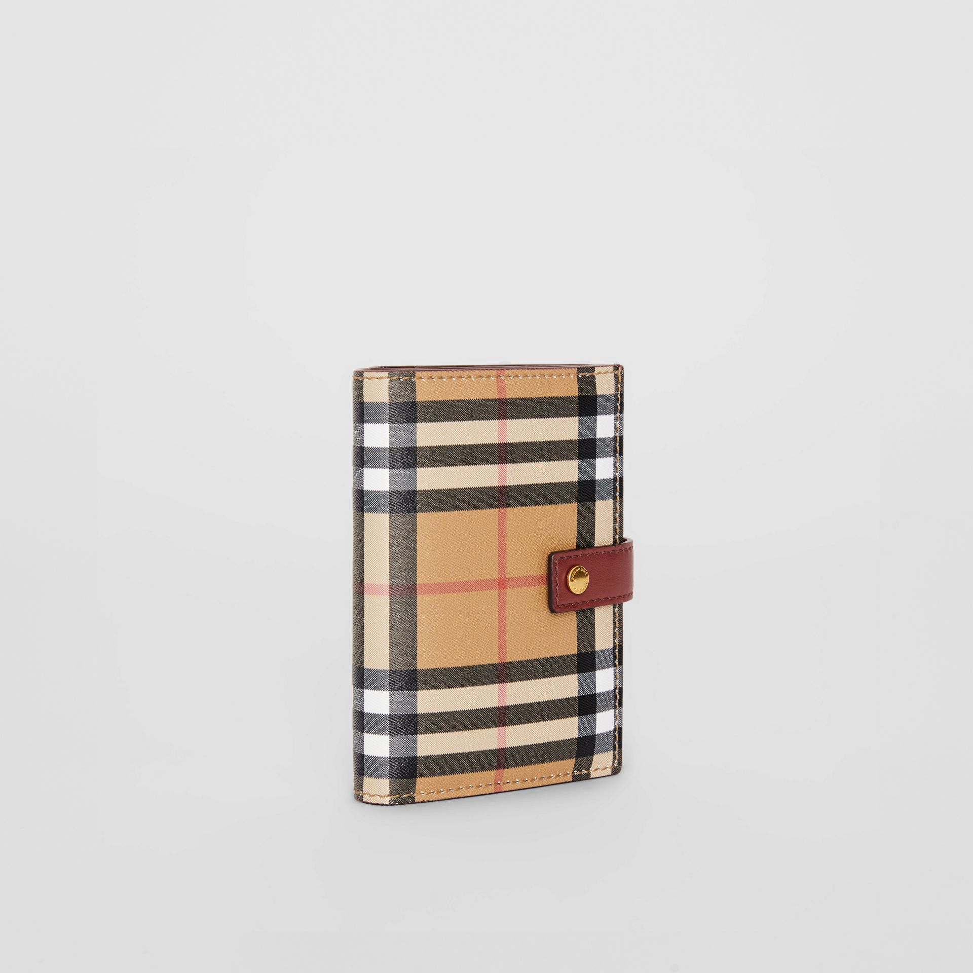 Vintage Check and Leather Folding Wallet in Crimson - Women | Burberry United States - gallery image 4