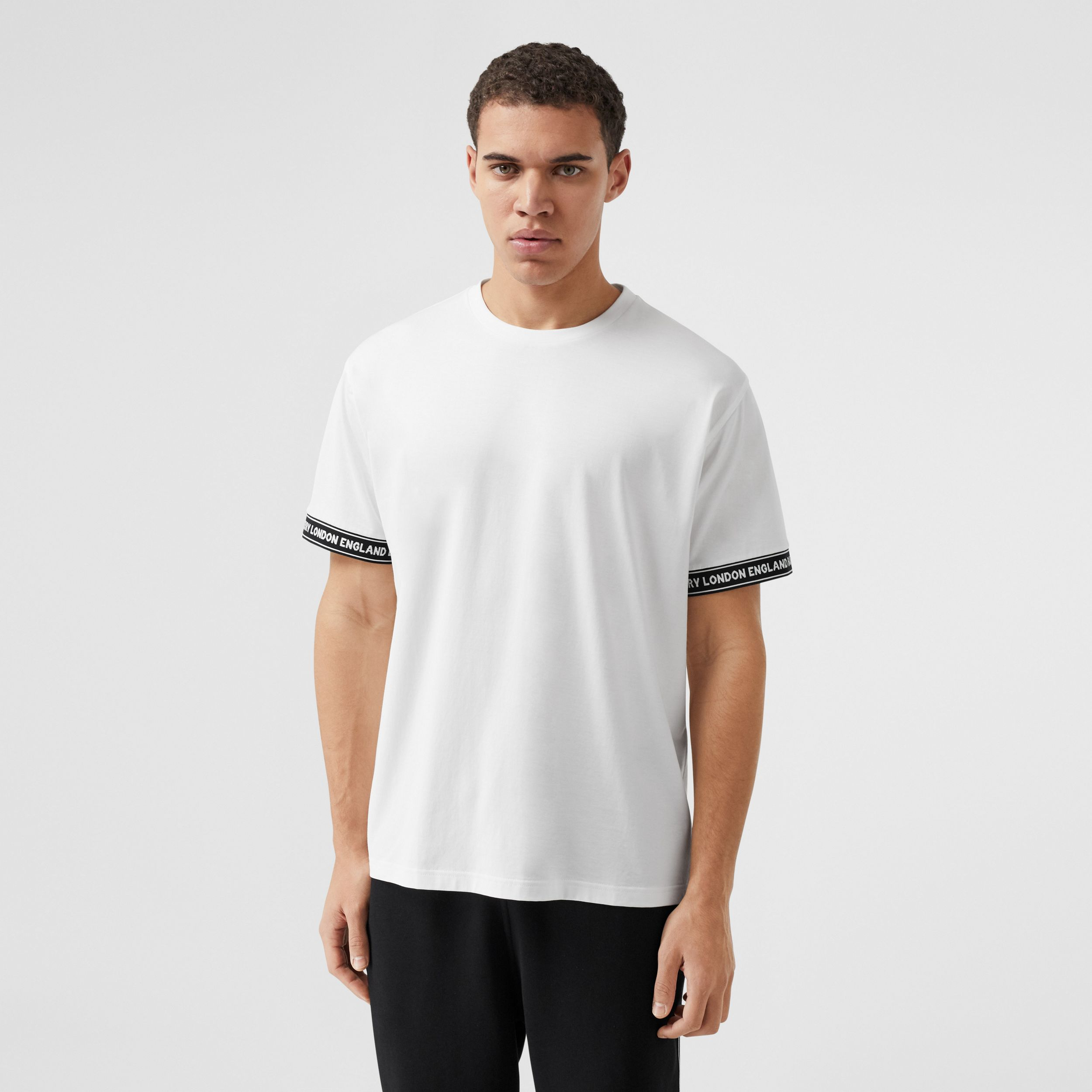 Logo Tape Cotton Oversized T-shirt in White - Men | Burberry - 1