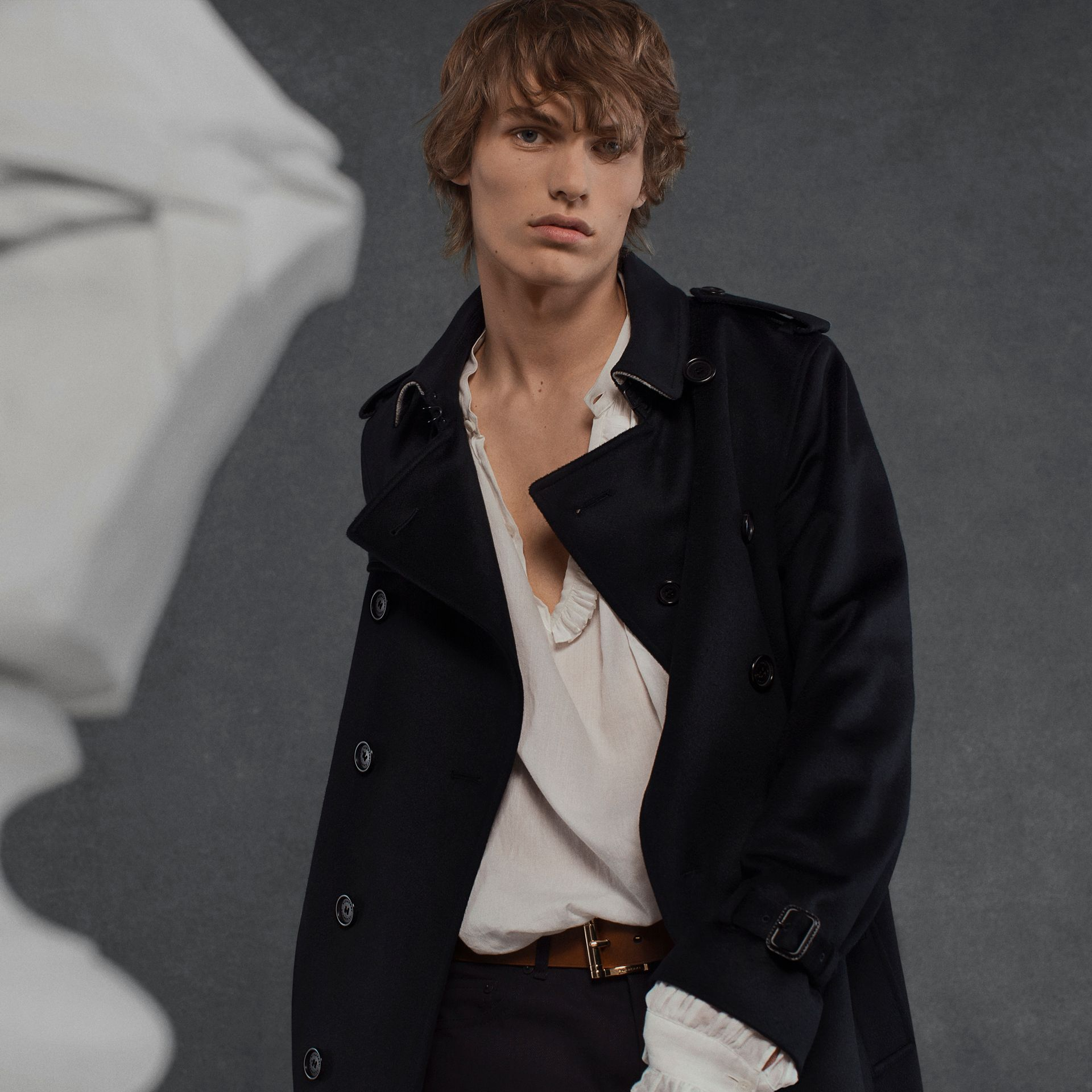 Cashmere Trench Coat Navy - gallery image 9