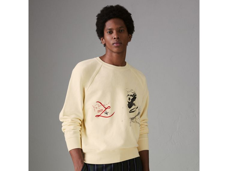 Portrait and Logo Print Cotton Sweatshirt in Pale Yellow - Men | Burberry - cell image 4