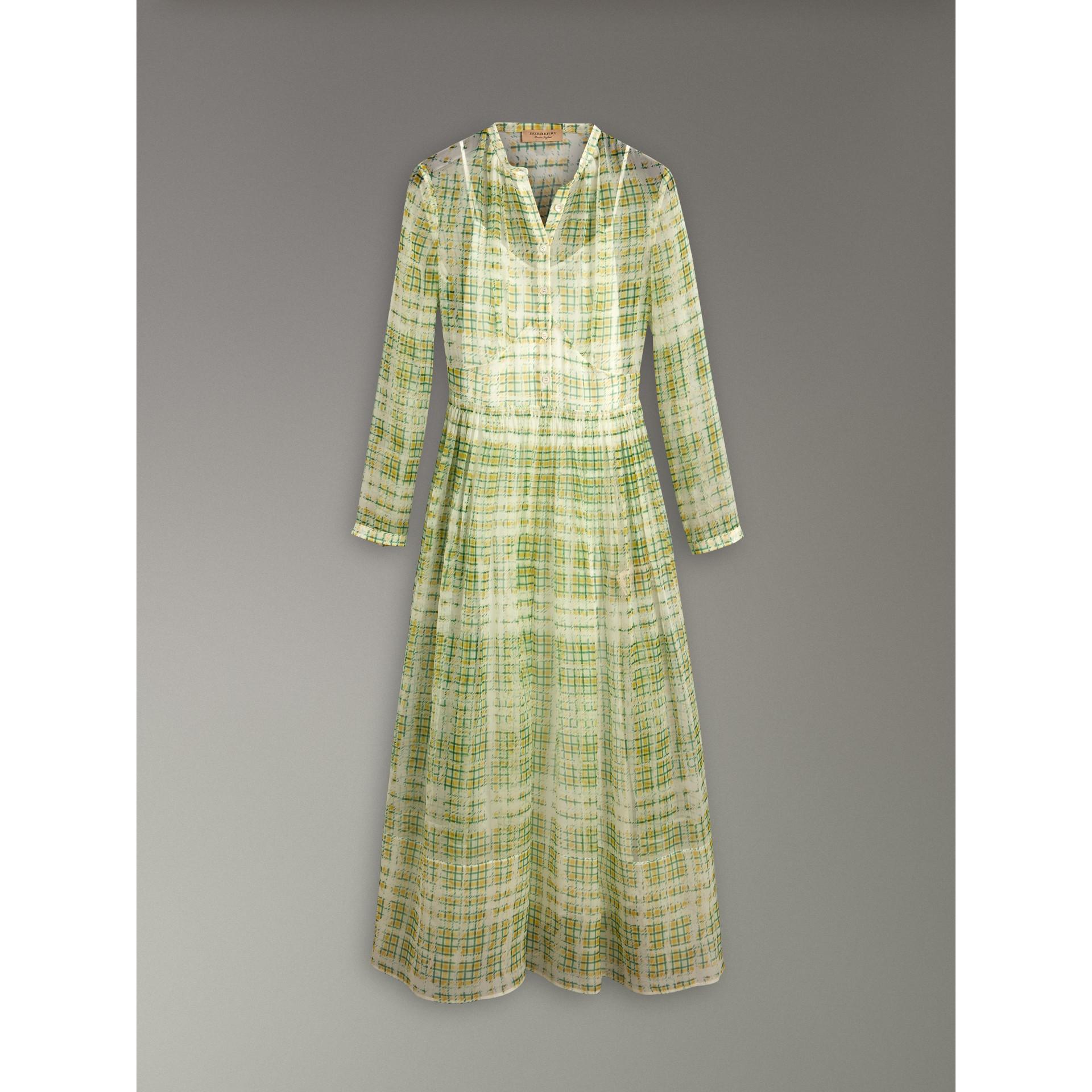 Robe en soie imprimée à motif check griffonné (Jaune) - Femme | Burberry - photo de la galerie 3