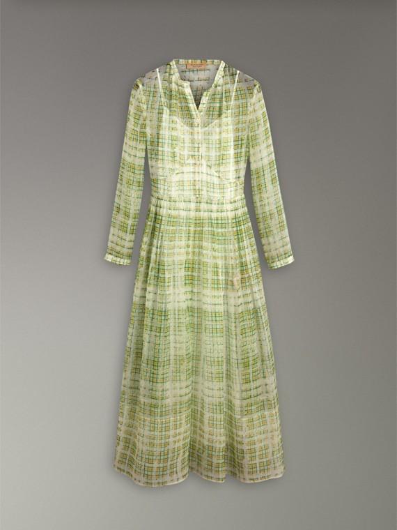 Robe en soie imprimée à motif check griffonné (Jaune) - Femme | Burberry - cell image 3