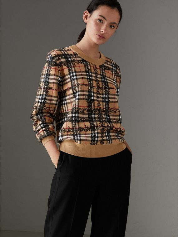 Scribble Check Merino Wool Sweater in Camel/black