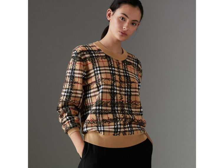 Scribble Check Merino Wool Sweater in Camel/black - Women | Burberry - cell image 4