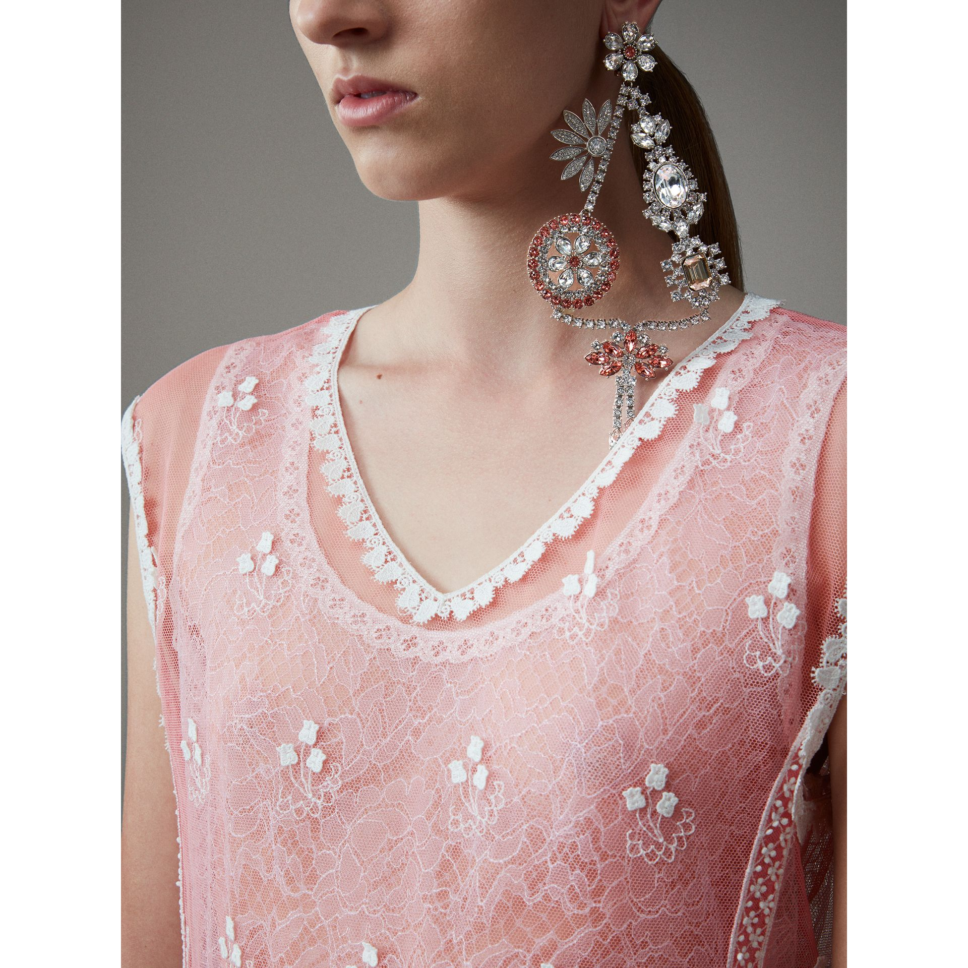 Sleeveless Chantilly Lace Embroidered Tulle Dress in Rose Pink/white - Women | Burberry Singapore - gallery image 1