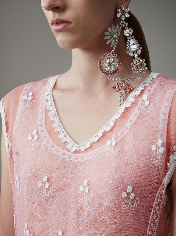 Sleeveless Chantilly Lace Embroidered Tulle Dress in Rose Pink/white - Women | Burberry United Kingdom - cell image 1