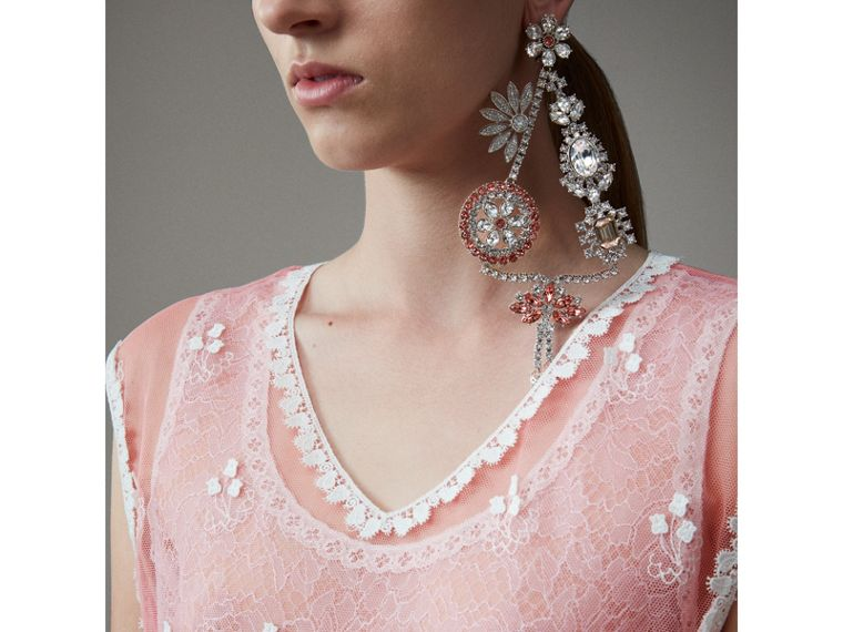 Sleeveless Chantilly Lace Embroidered Tulle Dress in Rose Pink/white - Women | Burberry - cell image 1