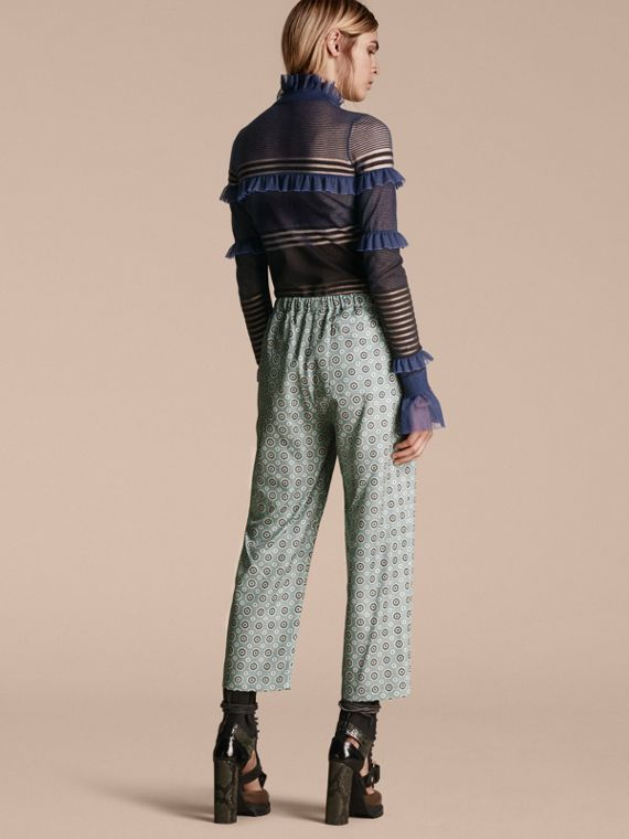 Sheer Striped Sweater with Ruffles - cell image 2