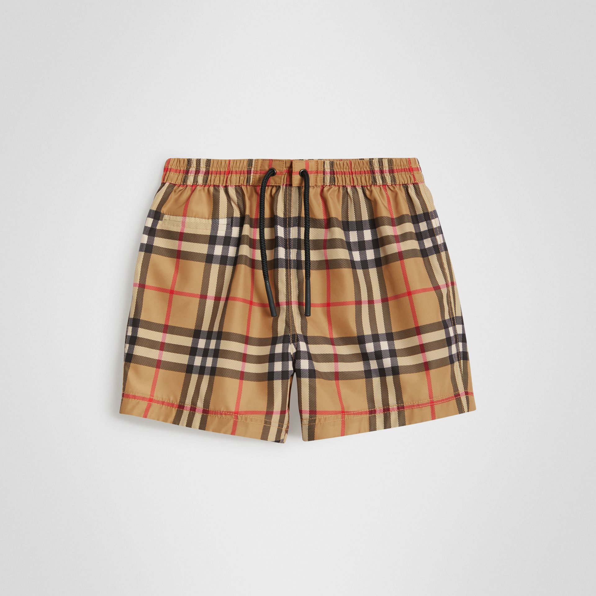 Check Swim Shorts in Antique Yellow - Children | Burberry United Kingdom - gallery image 0