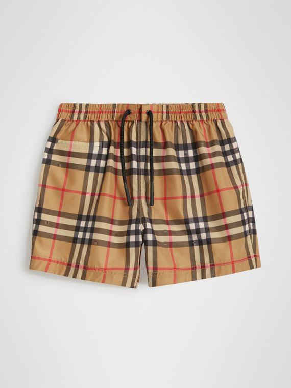 Short de bain à motif check (Jaune Antique)
