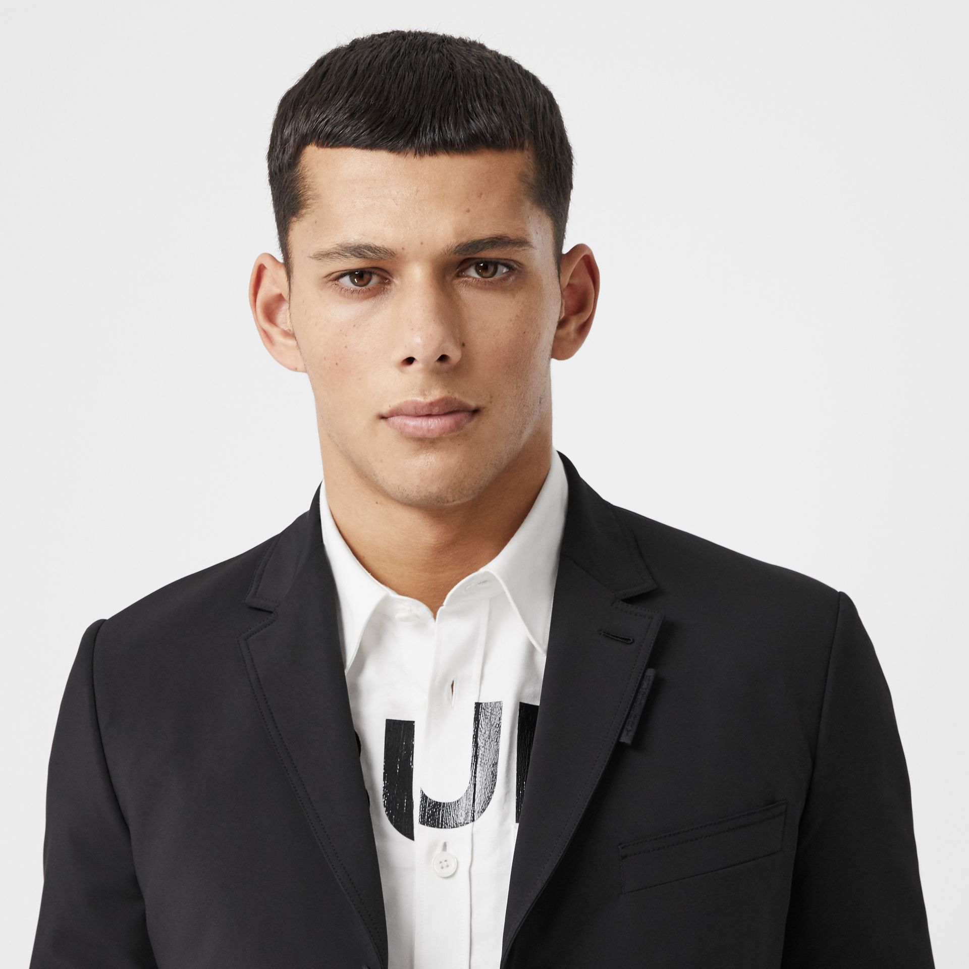 Slim Fit Technical Nylon Tailored Jacket in Black - Men | Burberry Australia - gallery image 1