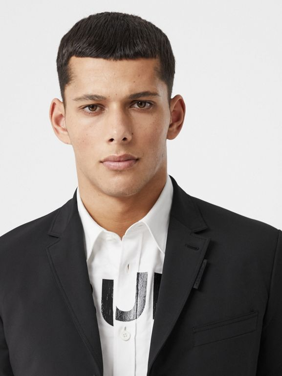 Slim Fit Technical Nylon Tailored Jacket in Black - Men | Burberry Australia - cell image 1