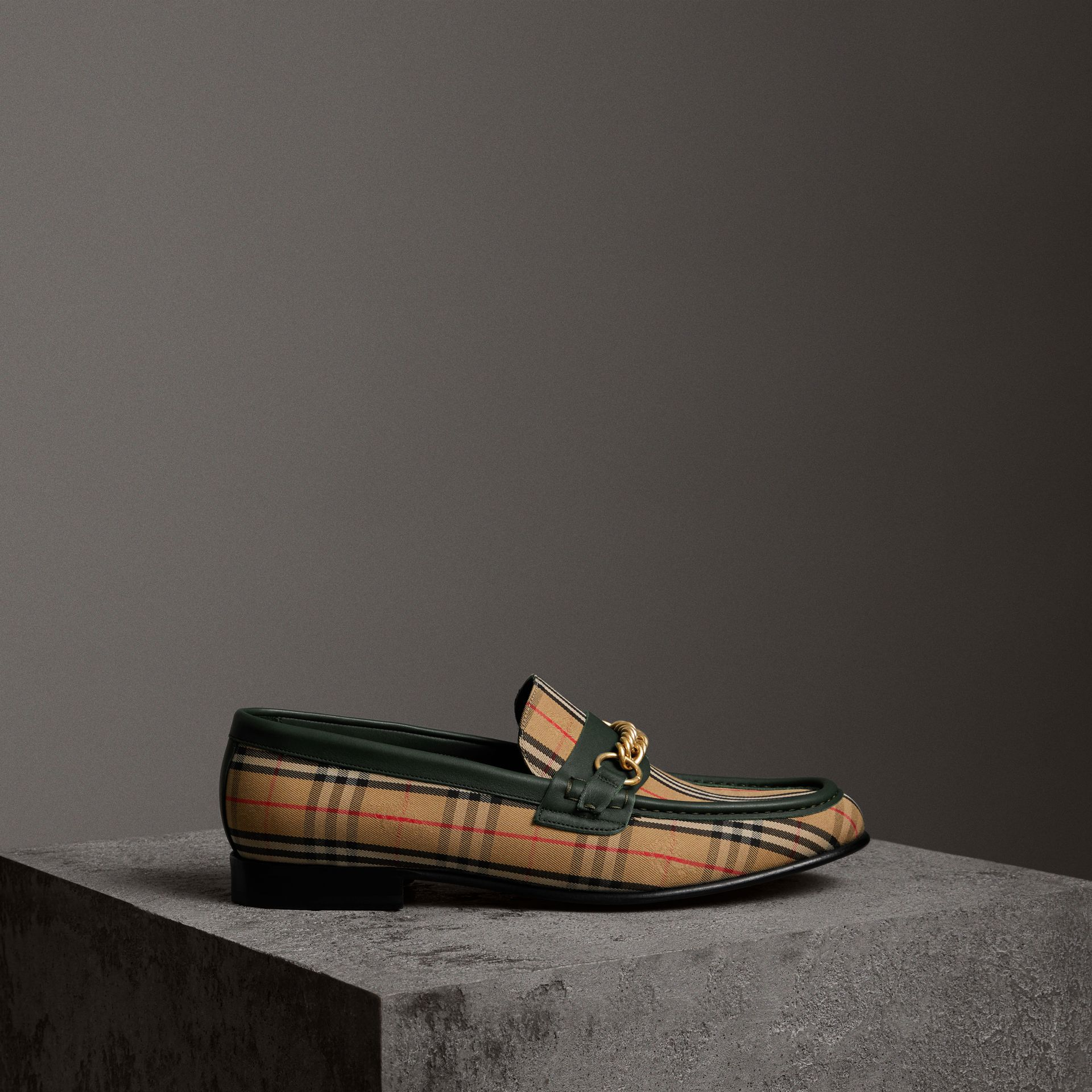 The 1983 Check Link Loafer in Dark Forest Green | Burberry - gallery image 0