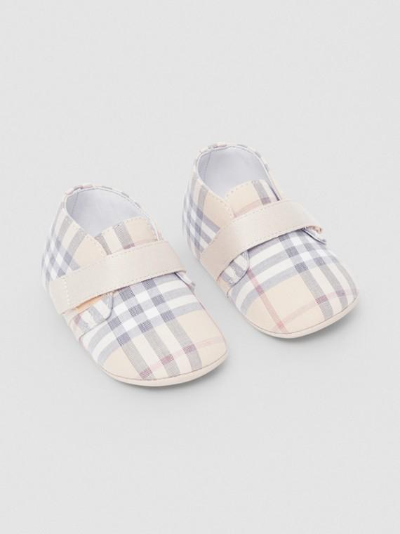 格紋棉質及皮革嬰兒鞋 (淡石色)