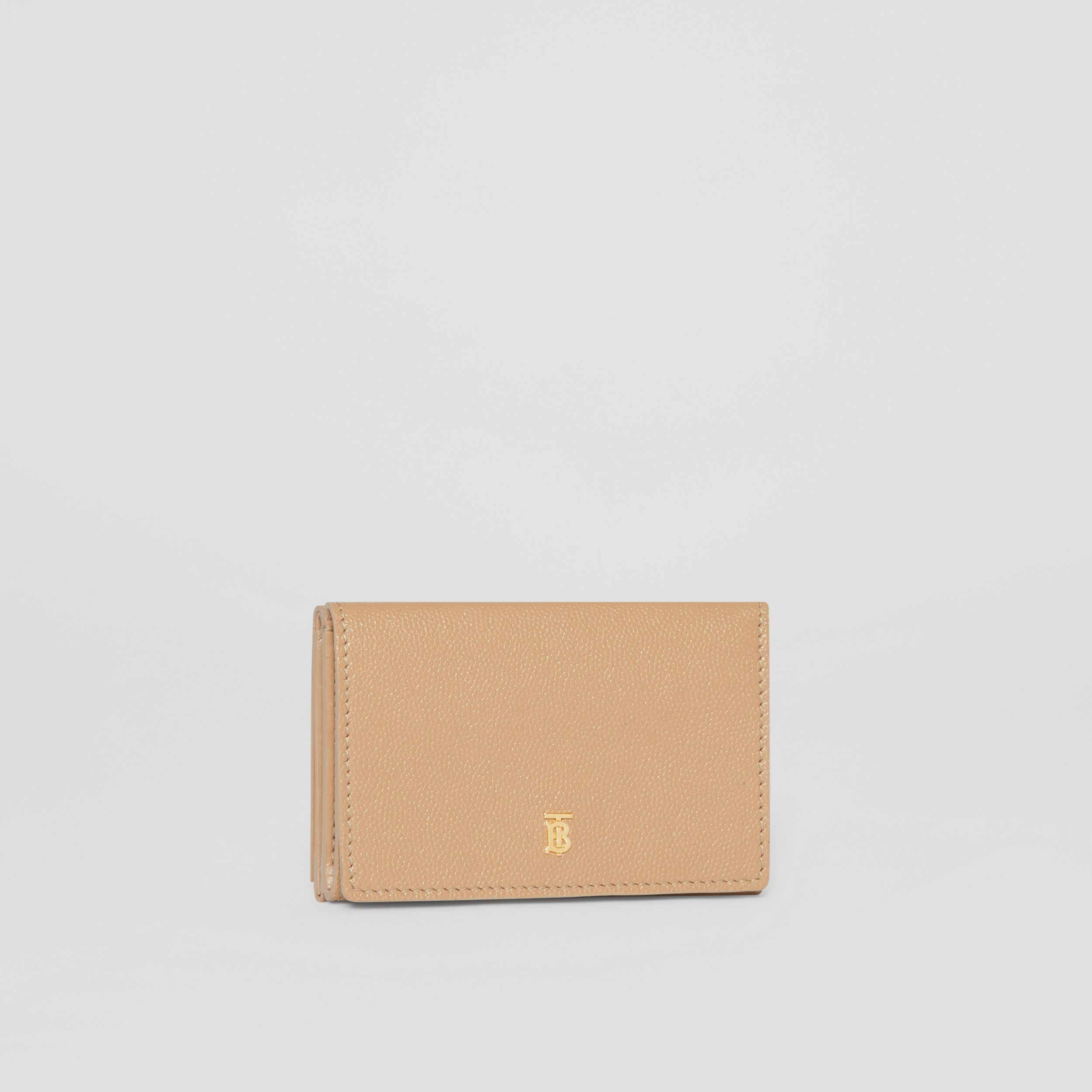 Small Grainy Leather Folding Wallet in Archive Beige - Women | Burberry Australia - 4