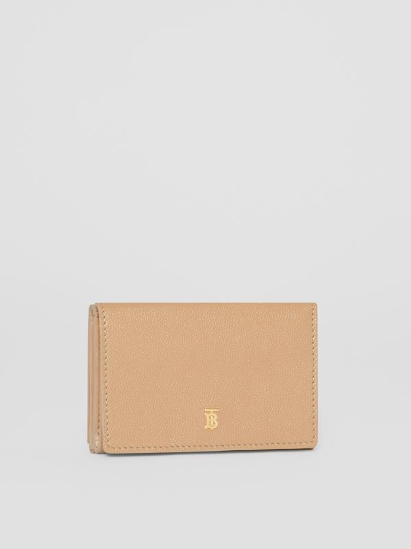 Small Grainy Leather Folding Wallet in Archive Beige - Women | Burberry Australia - cell image 3
