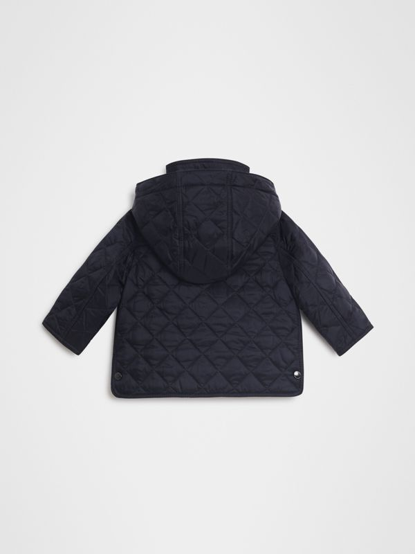 Diamond Quilted Hooded Jacket in Navy - Children | Burberry - cell image 3