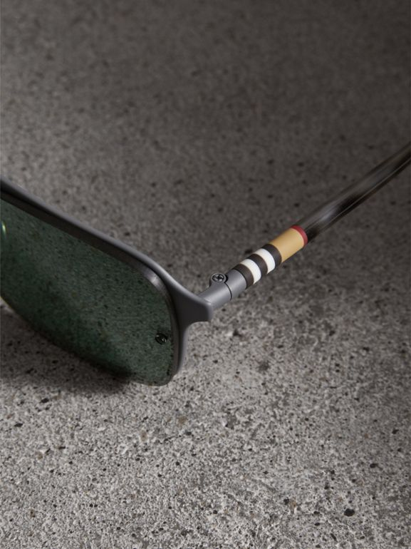 Square Frame Metal Sunglasses in Grey - Men | Burberry - cell image 1