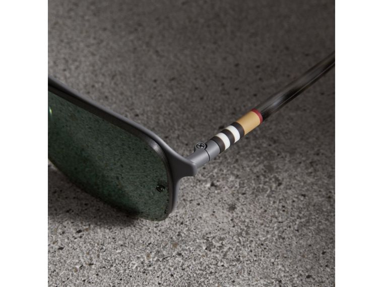 Square Frame Metal Sunglasses in Grey - Men | Burberry United States - cell image 1