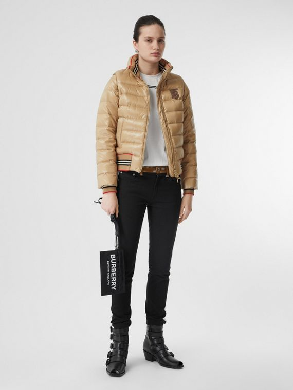 Detachable Sleeve Icon Stripe Detail Puffer Jacket in Honey