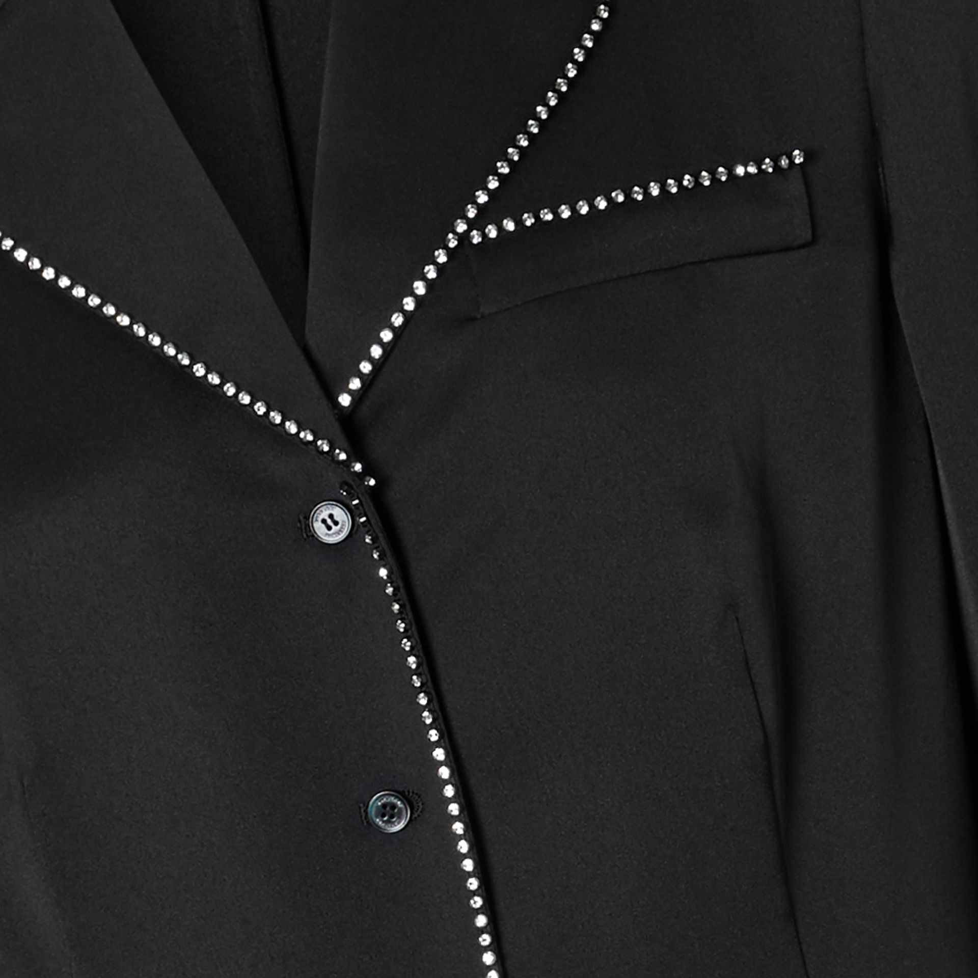 Embellished Silk Shirt in Black - Women | Burberry Australia - gallery image 1