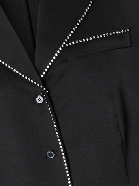Embellished Silk Shirt in Black - Women | Burberry Australia - cell image 1