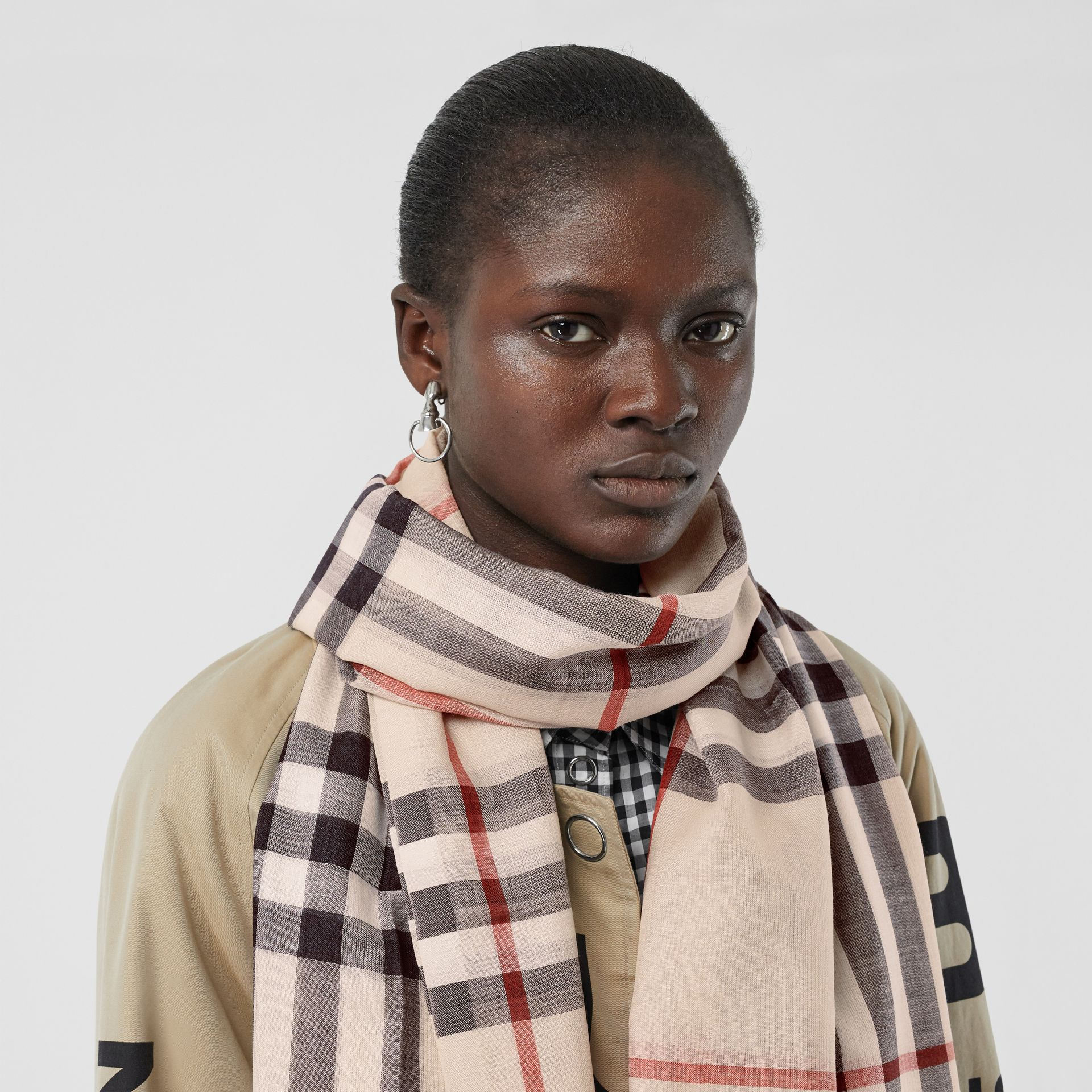 Lightweight Check Wool and Silk Scarf in Stone | Burberry - gallery image 2